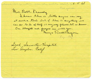 Hand-written note from Reagan to Mrs. Kennedy
